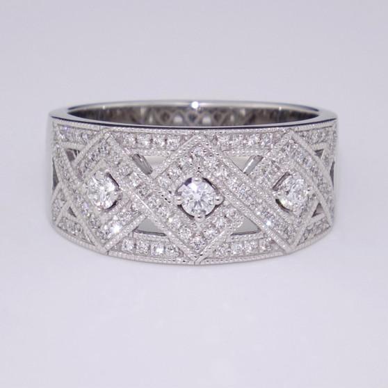 18ct white gold wide diamond ring