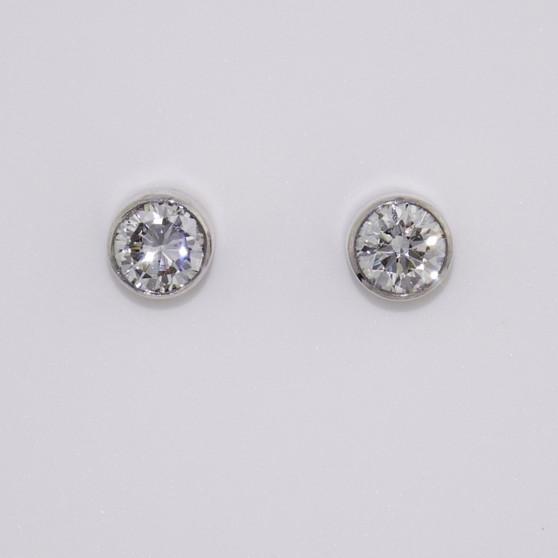 18ct white gold round brilliant cut diamond stud earrings