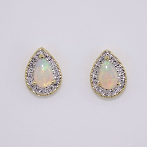 9ct gold opal and diamond cluster earrings