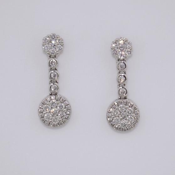9ct white gold diamond cluster drop earrings