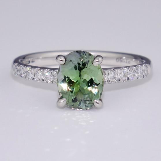 Platinum green tanzanite and diamond ring