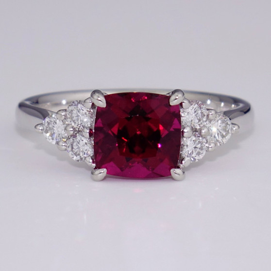 Platinum pink tourmaline and diamond ring