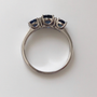 Platinum sapphire and diamond ring top