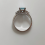 Platinum aquamarine and diamond ring top