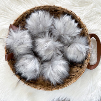 Grey Wolf Faux Fur Pompom | Ties or Snaps
