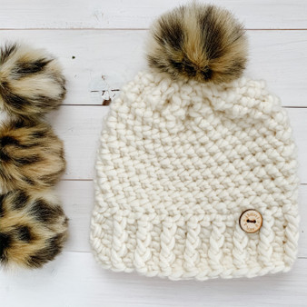 Leopard Faux Fur Pompom | Ties or Snaps