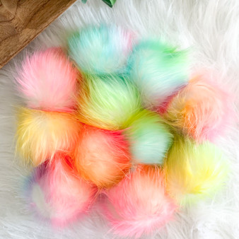 Rainbow Faux Fur Pompom | Ties or Snaps