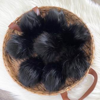 Panther Faux Fur Pompom | Ties or Snaps