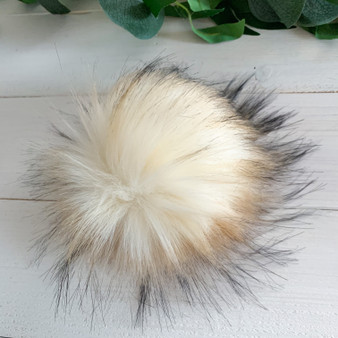Creme Brulee Faux Fur Pompom | Ties or Snaps