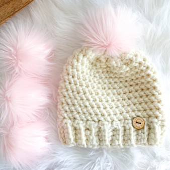 Blush Faux Fur Pompom | Ties or Snaps