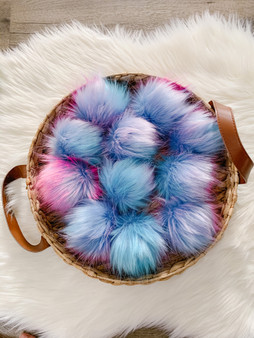 Cotton Candy Faux Fur Pompom | Ties or Snaps