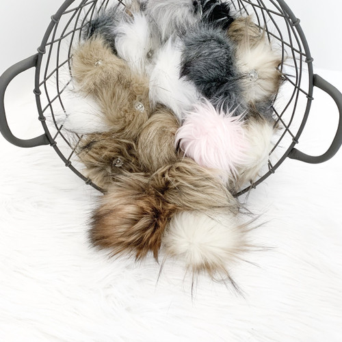 Bulk/Box  Mixed Faux Fur Pompom | Ties or Snaps