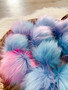 Cotton Candy Faux Fur Pompom   Ties or Snaps