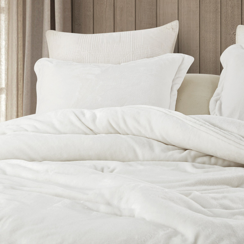 Soft Plush Twin, Queen, or King Comforter Set Wait Oh What Coma Inducer Farmhouse White