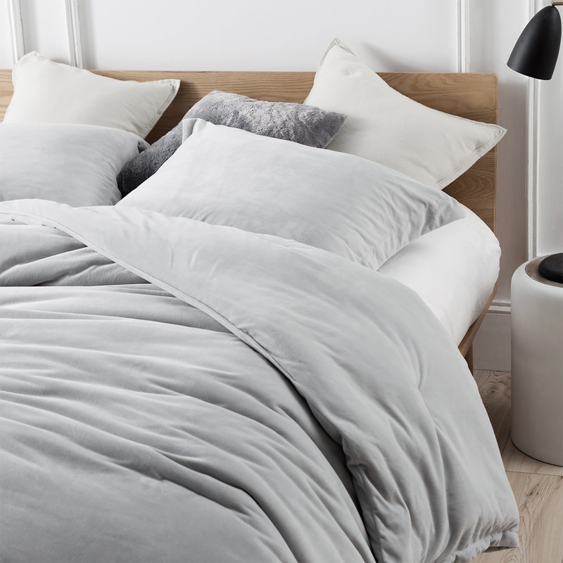 Gray Twin, Queen, or King Bedding Set with Matching Gray Shams