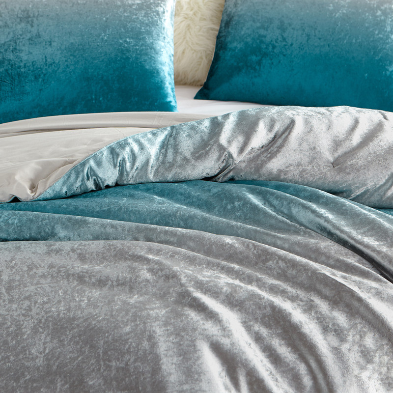 Ombre Velvet Crush Teal and Gray Blanket Coma Inducer Plush Twin, Queen, or King Extra Large Comforter