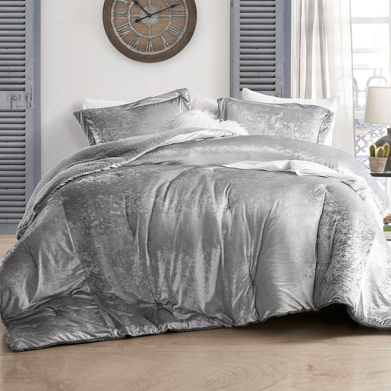 Elegant Gray Twin, Queen, or King Bedding Set Made with Super Soft Velvet Plush