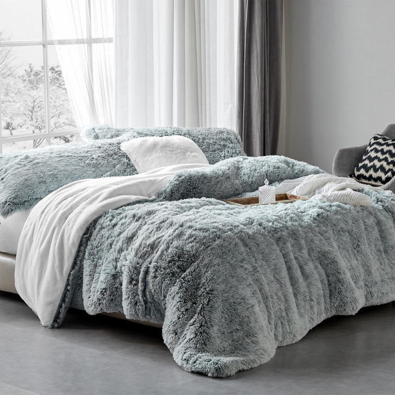 Oversized Twin, Queen, or King Bedspread with Matching Pillow Shams Frosted Navy Gray