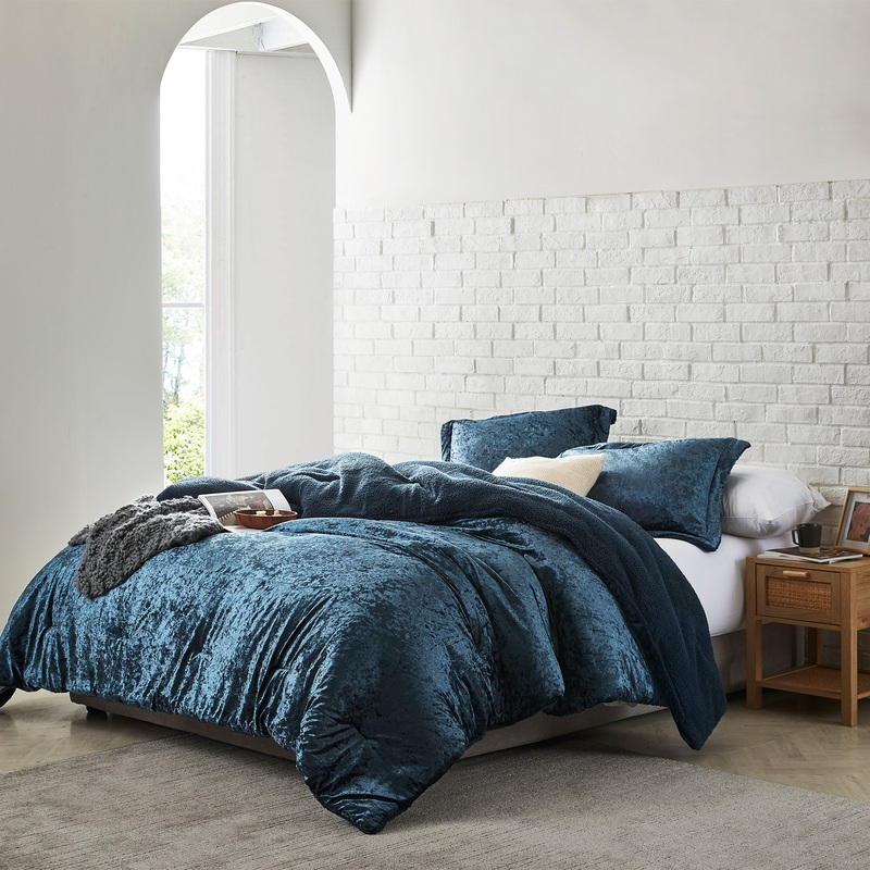 Extra Large Twin, Queen, or King Comforter Velvet Crush Coma Inducer Navy Blue Soft Plush Blanket