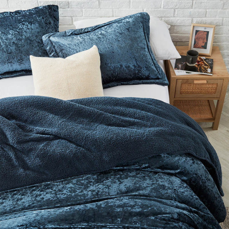 Navy Blue Twin, Queen, or King Bedding Made with Machine Washable Bedding Materials