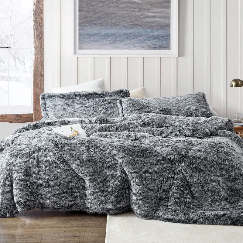 Neutral Black Twin XL, Queen XL, or King XL Plush Comforter