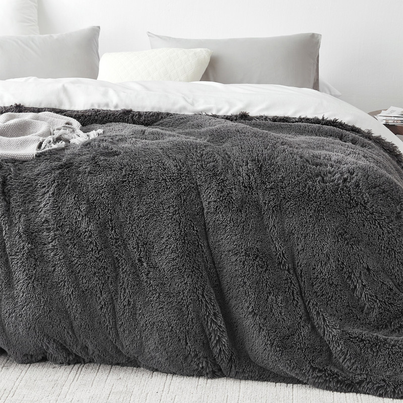 Dark Gray XL Twin, XL Queen, or XL King Comforter Cover with White Reverse Side