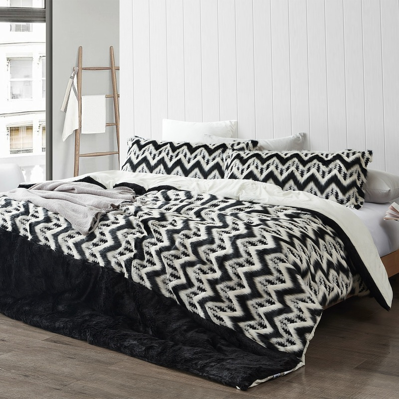 Black and White Chevron XL Twin, XL Queen, or XL King Comforter with Faux Mink White Reverse