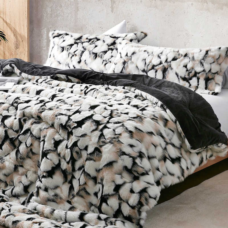 Warm and Cozy Faux Fur Oversized Twin, Queen, or King Bedspread with Black Reverse Faux Mink