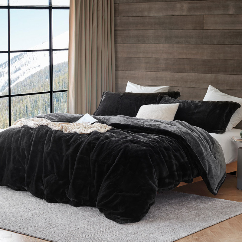 Black Queen or King Extra Large Comforter Set with Matching Standard/Queen or King Pillow Shams