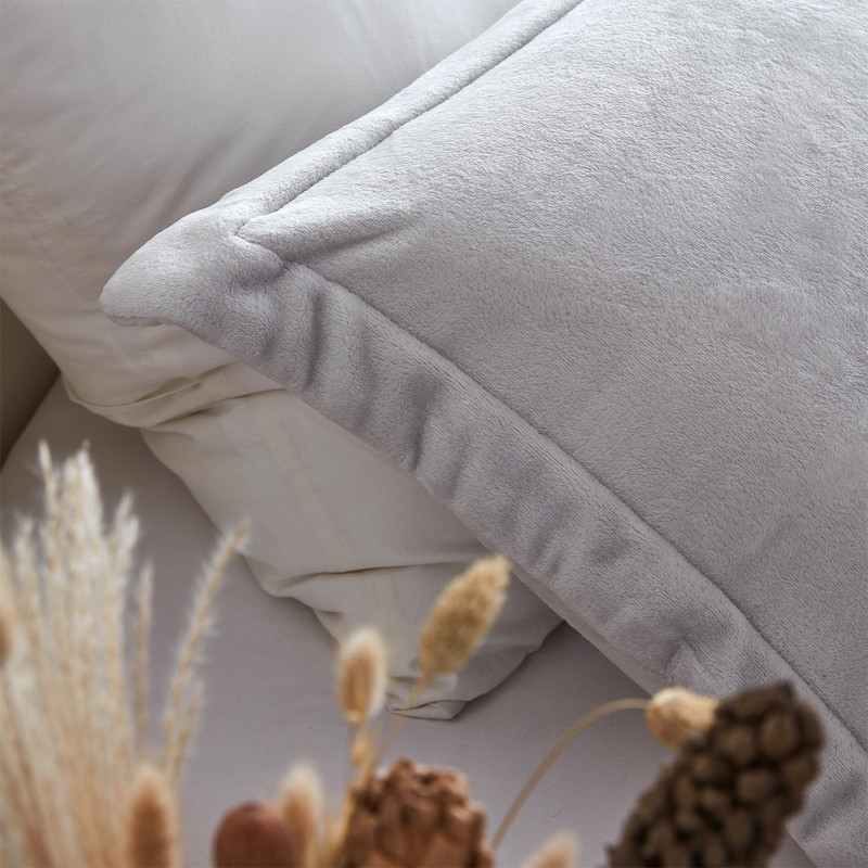 Grey XL Twin, XL Queen, or XL King Pillow Sham and Oversized Comforter Set