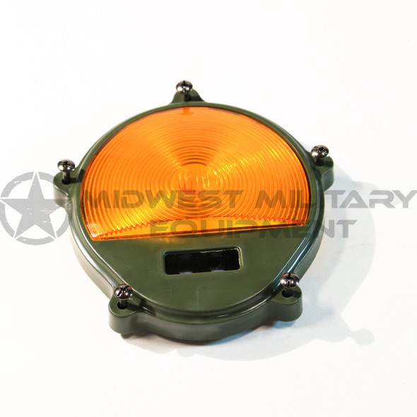 THIS IS NEW FRONT AMBER TURN AND PARKING LENS ONLY FOR THE 2.5 TON M35A2 AND OTHER M SERIES VEHICLES. AMBER.