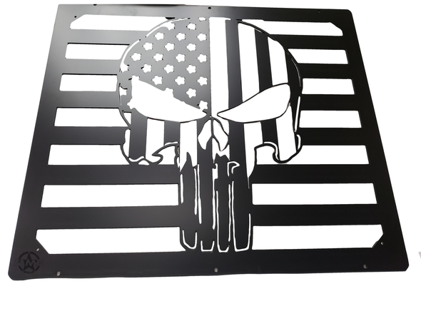 Custom American Flag Punisher Grille Insert For HMMWV / Humvee Hood