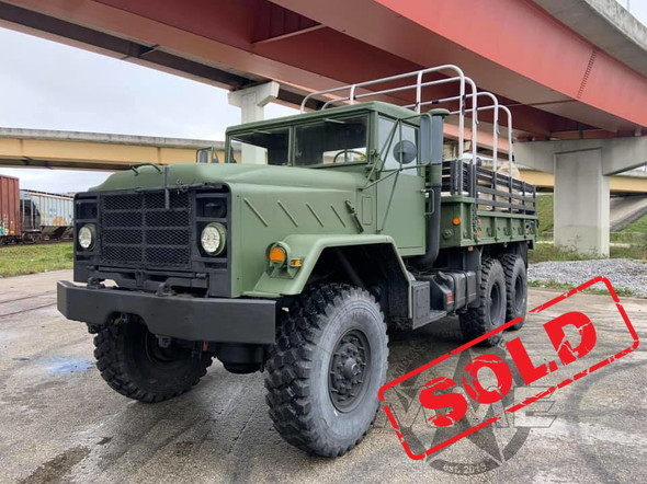1988 BMY M923a2 5 Ton Cargo Truck With Bed Mounted Crane