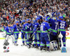 The Vancouver Canucks Celebrate Winning Game 1 of the 2011 NHL Stanley Cup Finals(#10) Photo Print - Item # VARPFSAANQ107