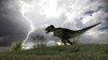 Tyrannosaurus Rex hunting in an open field during a lightning storm Poster Print - Item # VARPSTKVA600220P