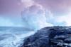 Hawaii, Big Island, Lava Flowing Into Sea, Sulphur Clouds From Kilauea Crater PosterPrint - Item # VARDPI2002230