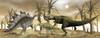 Two Allosaurus dinosaurs attack a lone Stegosaurus in the desert. Poster Print - Item # VARPSTEDV600230P