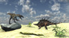 Confrontation between a Utahraptor and a Kentrosaurus Poster Print - Item # VARPSTKVA600689P