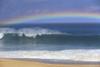 Rainbow Over Shore Break Beach Foreground, Horizon And Blue Sky With Clouds A21E PosterPrint - Item # VARDPI1997749