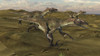 Three Utahraptors running across a desert landscape Poster Print - Item # VARPSTKVA600684P