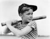 1930s Boy At Bat Wearing A Horizontal Striped Tee Shirt And Baseball Cap Poster Print By Vintage Collection - Item # VARPPI177116