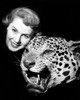 1950s Smiling Woman Face Looking At Camera Posed With Growling Stuffed Leopard Head Print By Vintage Collection - Item # VARPPI177389