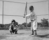 1960s Two Boys Playing Baseball Batter And Catcher At Home Plate Poster Print By Vintage Collection - Item # VARPPI177086