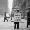 1930s Winter Street Scene Of Man Wearing Pawnbroker Sandwich Board Poster Print By Vintage Collection (24 X 24) - Item # PPI179539LARGE