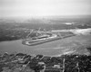 1950s Aerial Across Flushing Bay La Guardia Airport College Point Queens Manhattan Skyline In Distance Looking West - Item # VARPPI178829