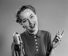 1950s Portrait Of Woman Singing Or Speaking At Microphone Looking At Camera Poster Print By Vintage Collection (32 X 36) - Item # PPI177648LARGE
