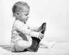 1960s Baby Boy Trying To Put On Adult Man'S Shoe Poster Print By Vintage Collection - Item # VARPPI177360