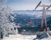 1970s Scenic From Top Of Mountain Ski Slope Looking Down Into Valley Ski Lift Red Cars Snow Vista Print By Vintage - Item # VARPPI177482