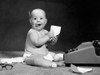 1960s Eager Baby Accountant Working At Adding Machine Poster Print By Vintage Collection (24 X 36) - Item # PPI177010LARGE