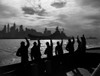 1940s Silhouetted Sailors Waving Salute To Passing Usn Battleship At Night New York City Skyline Print By Vintage - Item # VARPPI178803